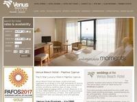 Venus Beach hotel Website Screenshot